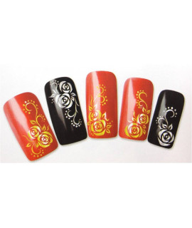 Stickers d'ongles water decals nail art y028c argent