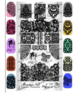 """Nail art stamping plate Marianne Nails n°112 """"Lace"""""""