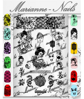 "Plaque Marianne Nails Pro n°8 ""Asie"""