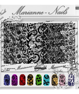 "Plaque Marianne nails Pro N°9 ""Dentelle"""