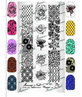 Plaque Marianne nails floral n121